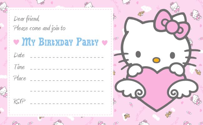 Hello Kitty Printable Birthday Invitation