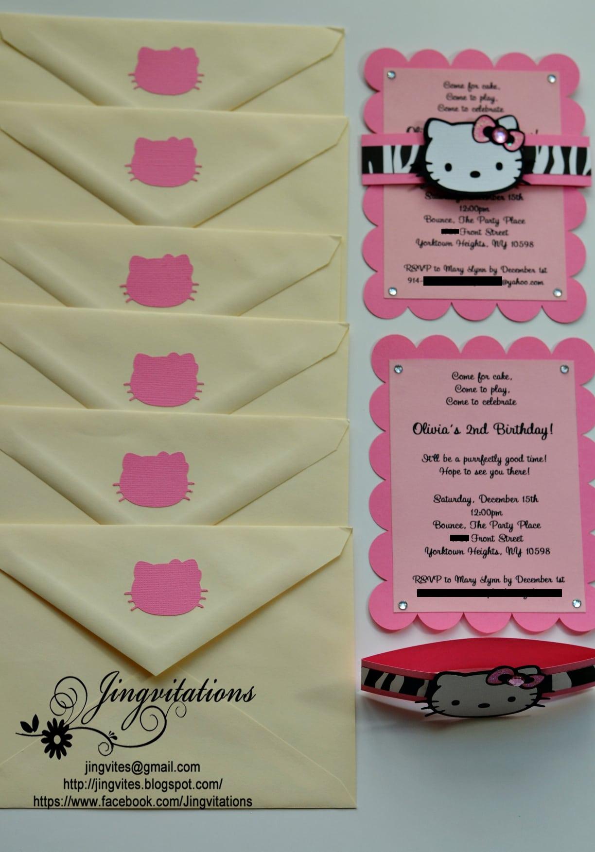 Hello Kitty Theme Party Invitations