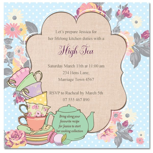 high tea invitation template. Black Bedroom Furniture Sets. Home Design Ideas