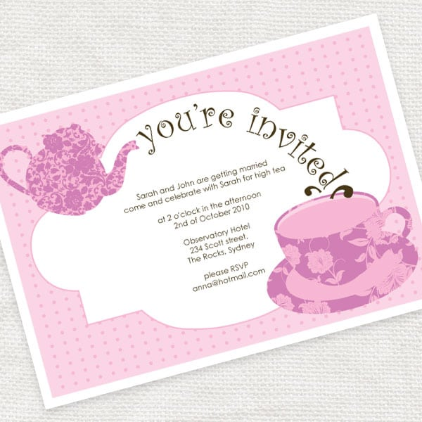 tea party menu template - high tea invitation template