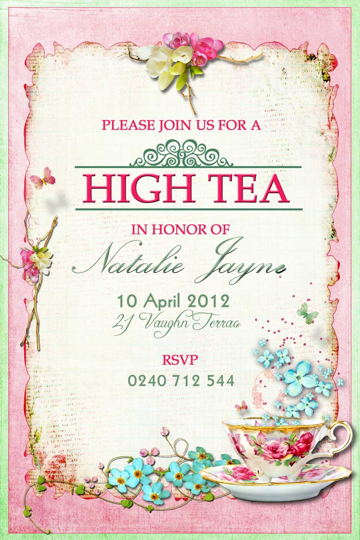 High Tea Party Invitation Template Free