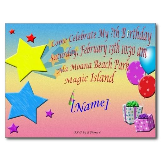 Invitation Birthday Card Sample