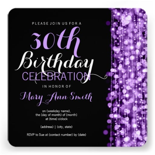 Invitation For 30 Birthday Party