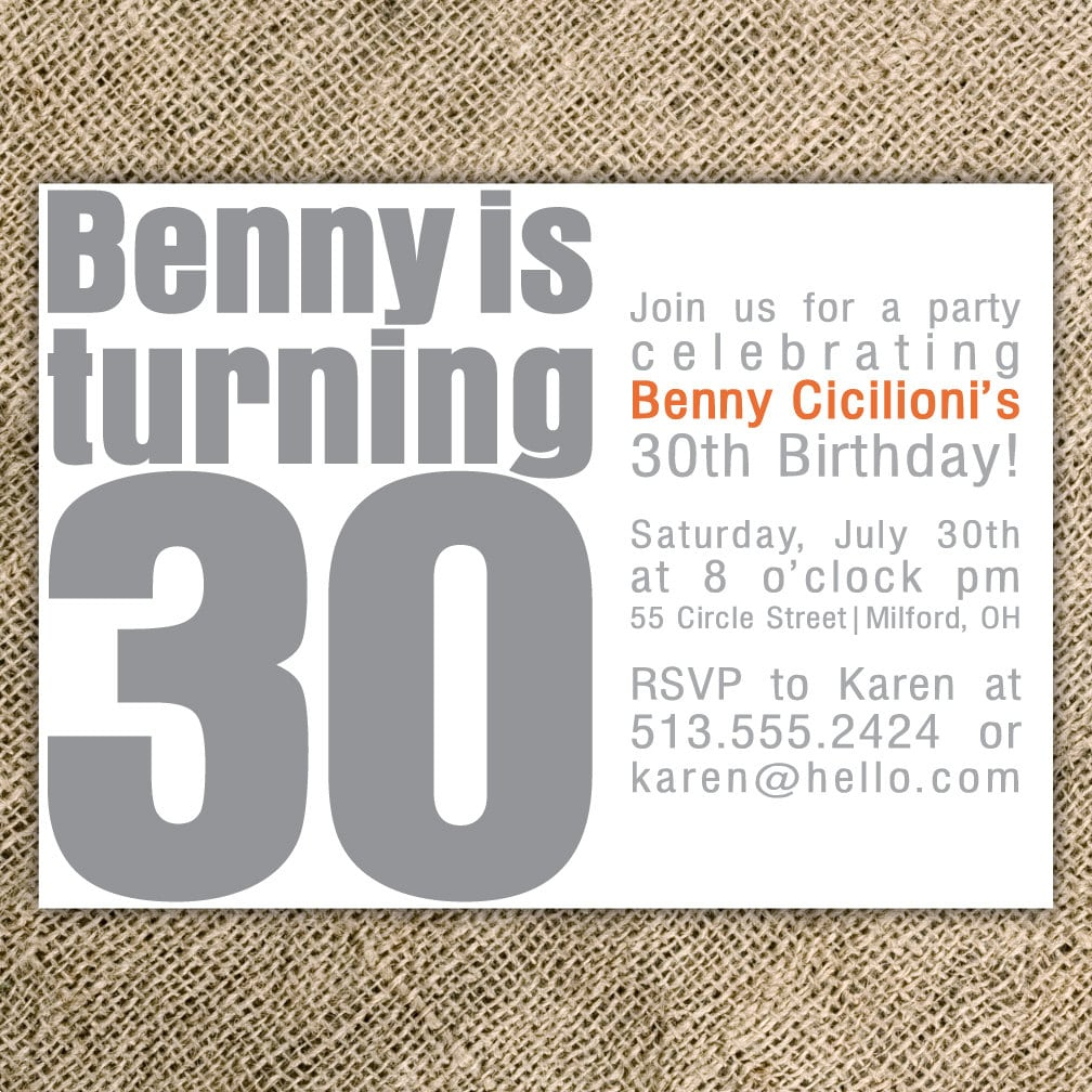 Invitation For 30th Birthday Party