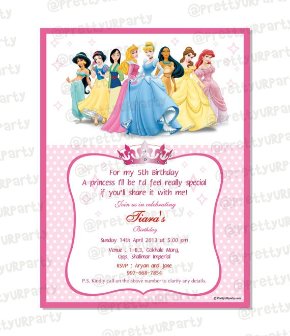 Invitation Template Disney Princess