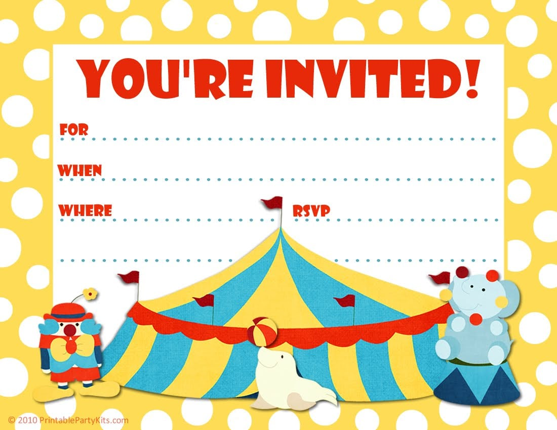 Kids Party Invitation Template Free