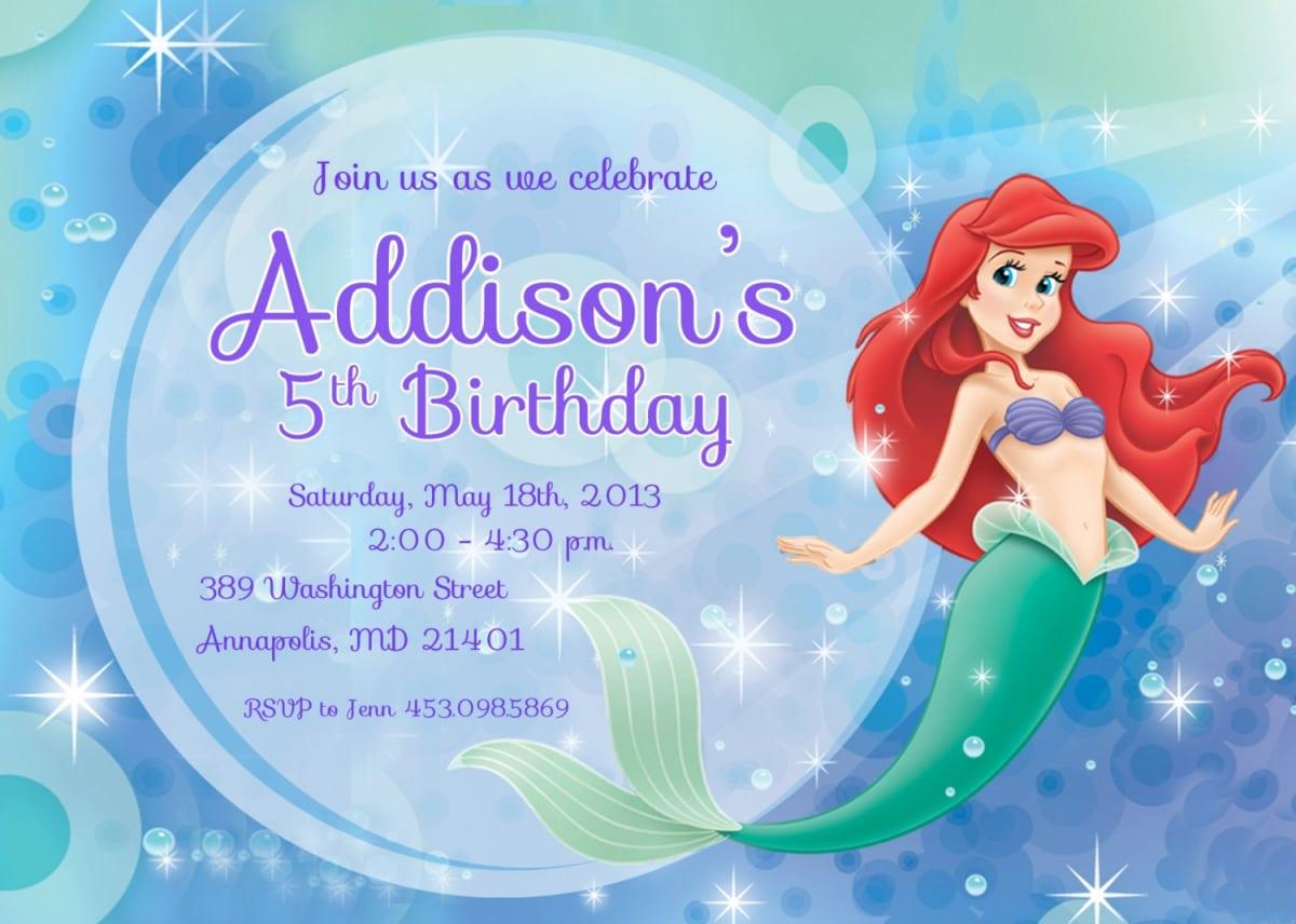 Little Mermaid Birthday Invitations Printable Free