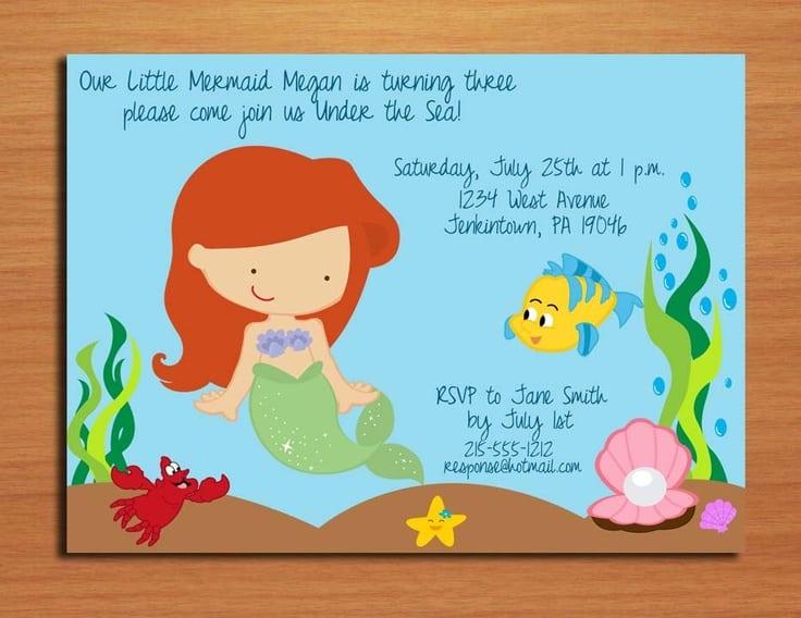 Little Mermaid Invitation Printable