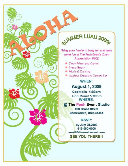 luau invitations templates free - luau invitation template