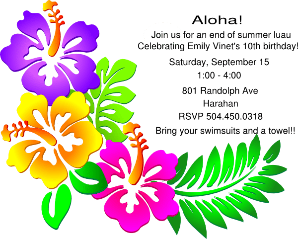 Luau Party Invitation Free