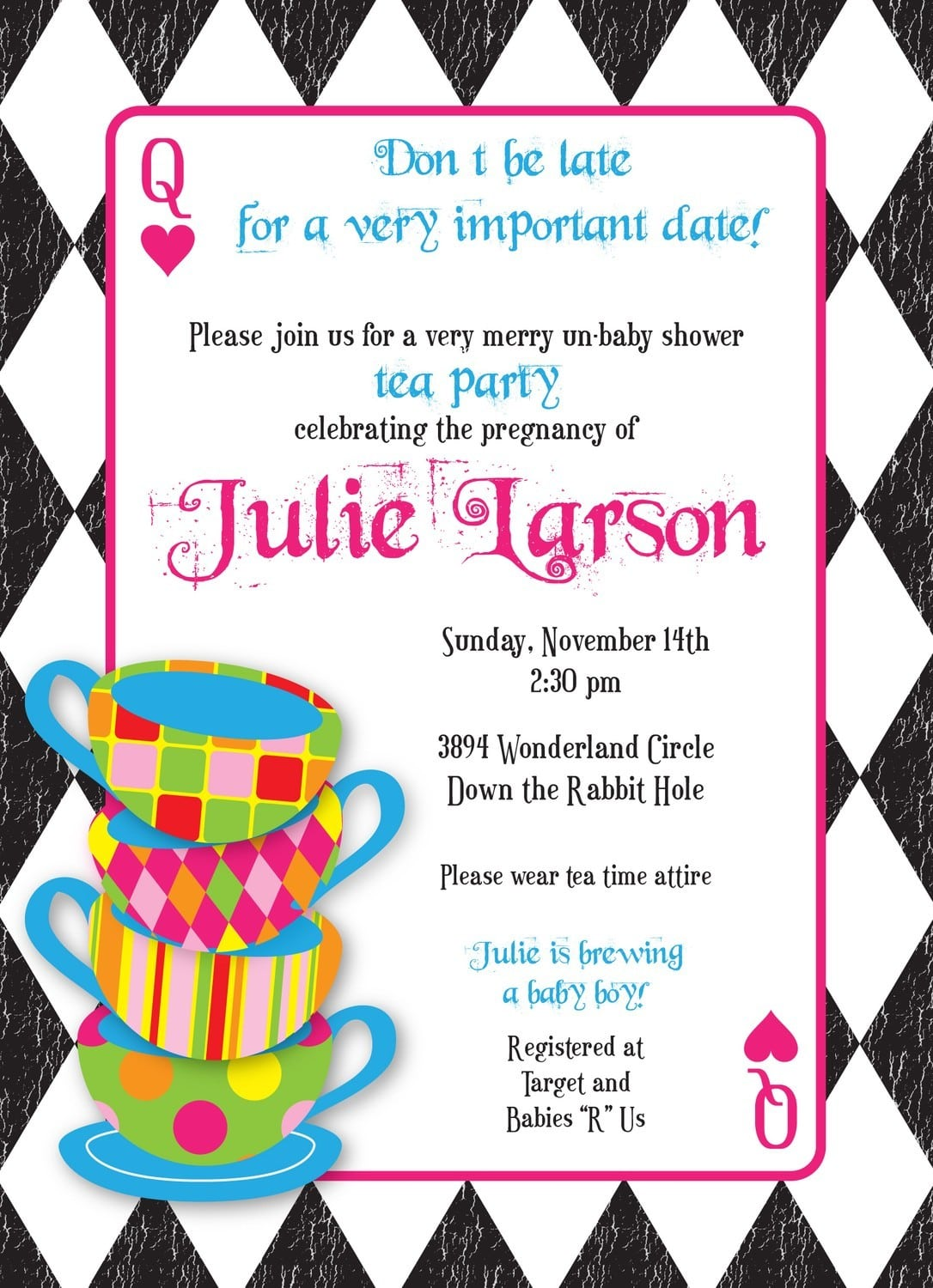 Mad Hatter Baby Shower Invitation Wording