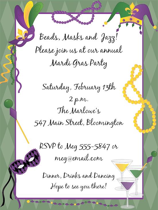 Mardi Gras Invitation – Mardi Gras Party Invitations Templates