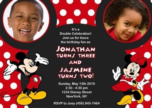 Mickey And Minnie Birthday Invitation Templates