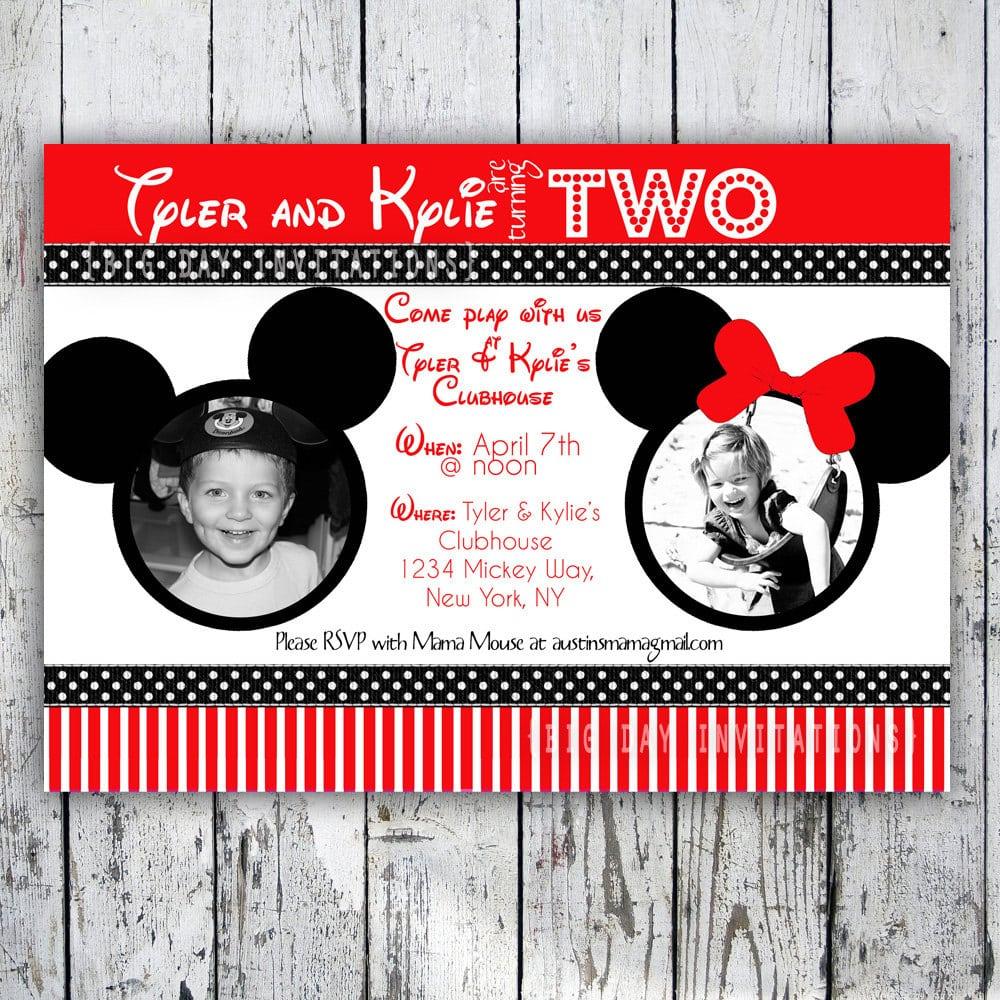 Mickey And Minnie Birthday Invitation Wording