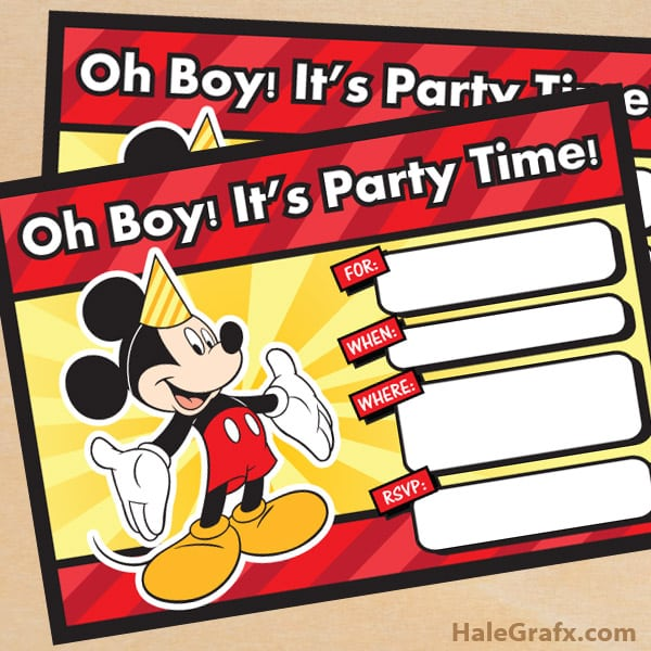 Mickey Mouse Birthday Invitations Printable Free
