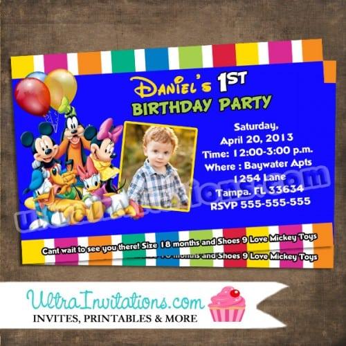Mickey Mouse Club Birthday Invitations