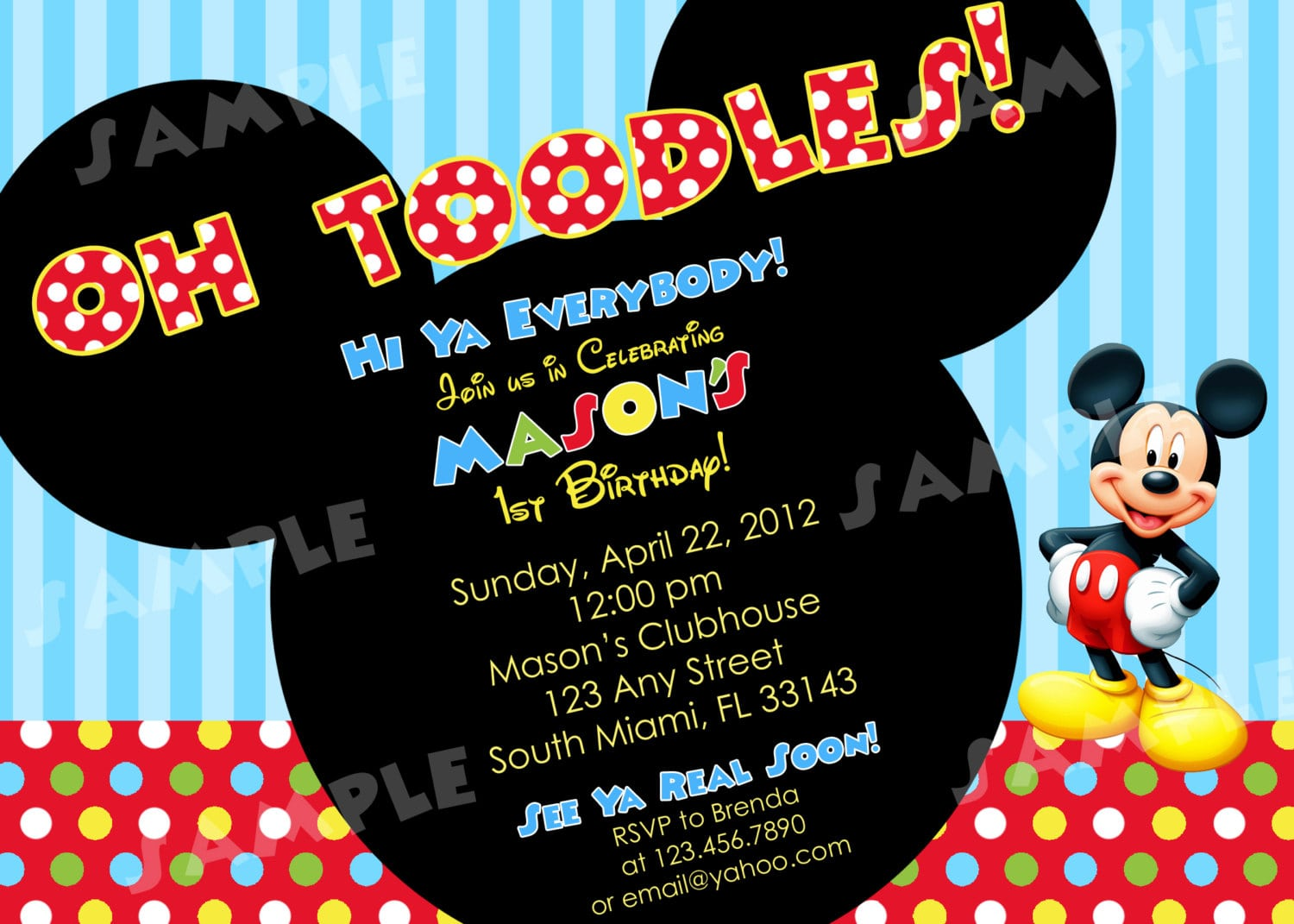 Mickey Mouse Clubhouse Birthday Invitations Wording