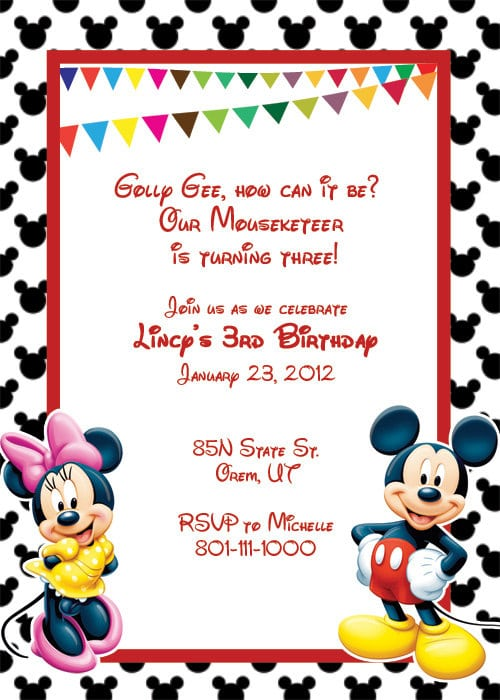 Mickey Mouse Free Printable Party Invitations