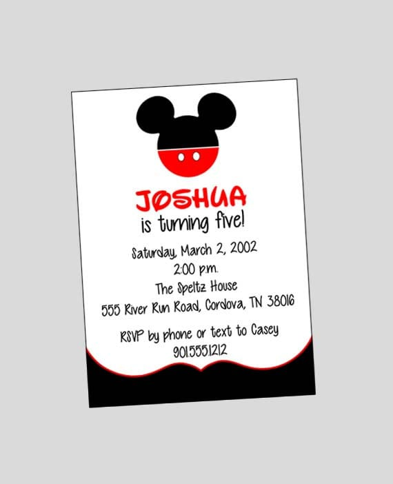 Mickey Mouse Invitation Format