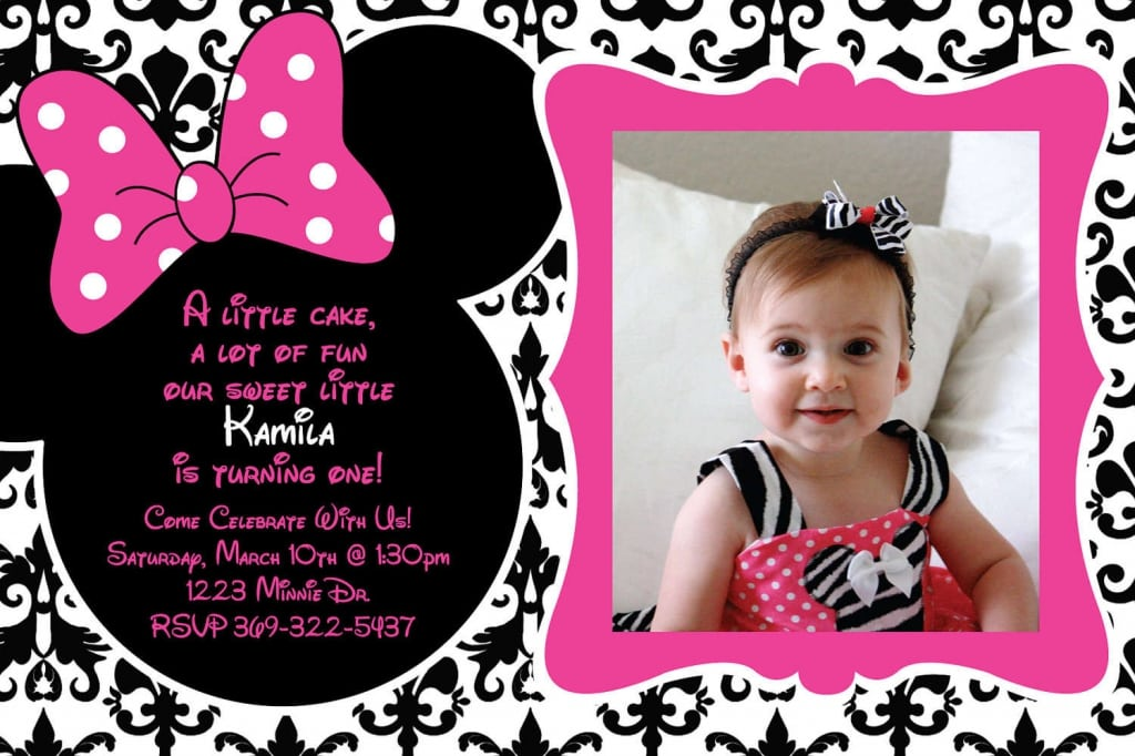 Minnie Mouse 1st Birthday Printable Invitation