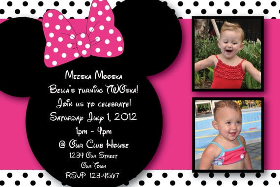 Minnie Mouse Invitations Etsy