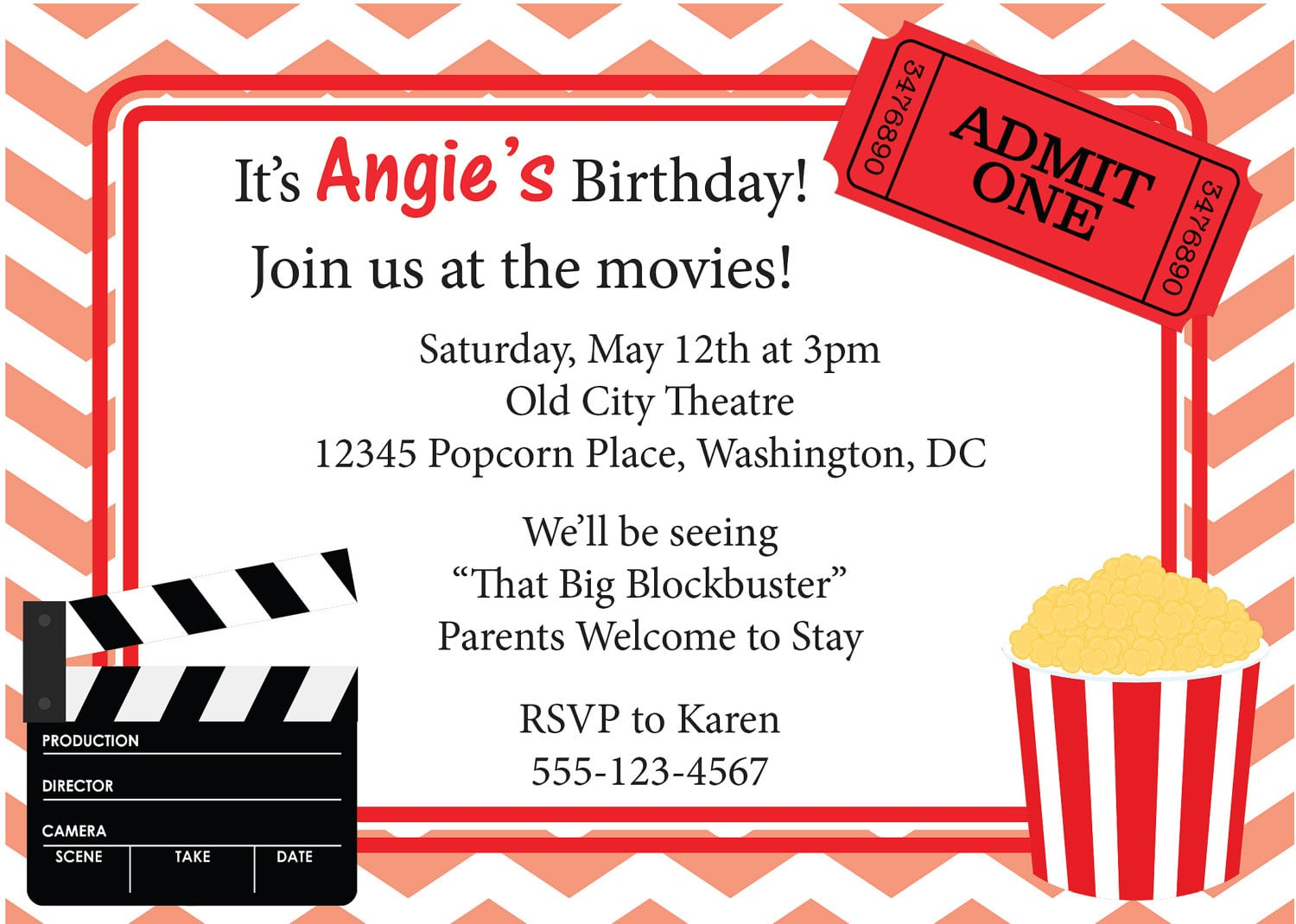 Movie Birthday Invitations Free Printable