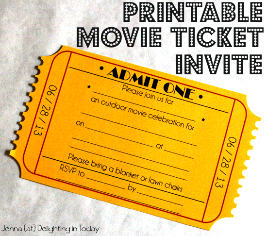 Movie Invitations Free Printable