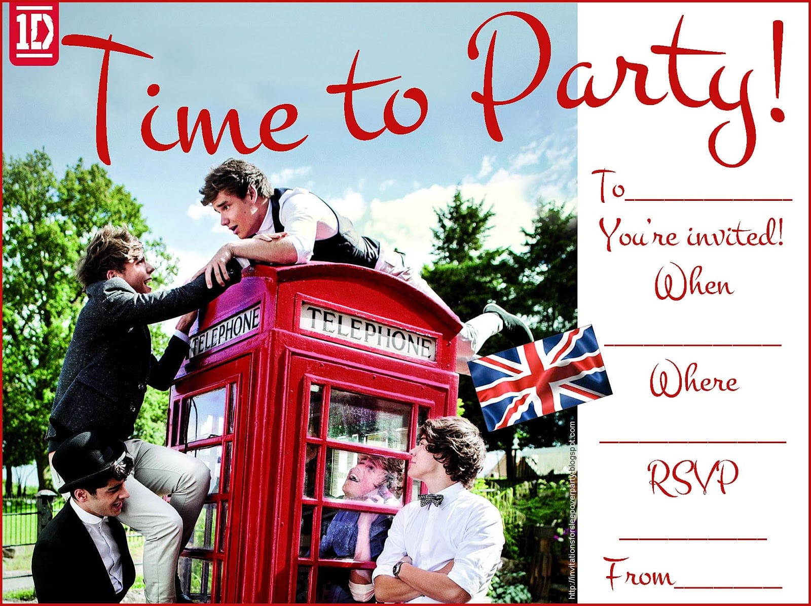 One Direction Birthday Invitation Templates