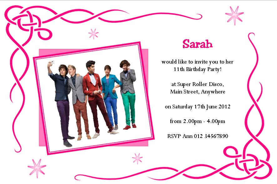 One Direction Invitation Printable Free