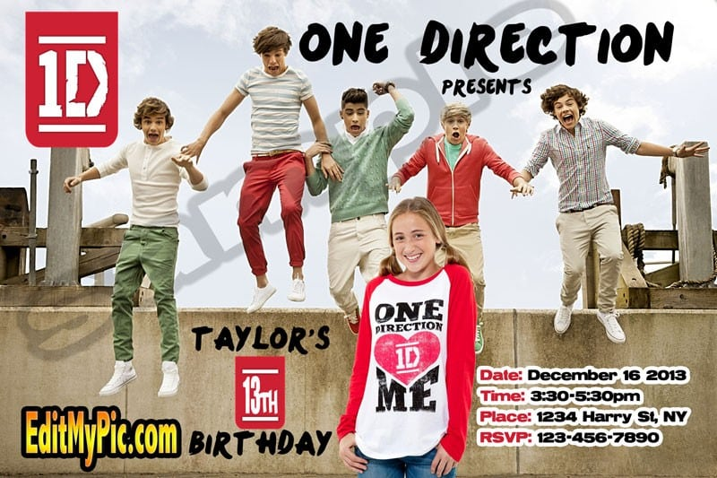 One Direction Printable Invitation