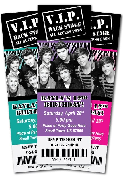 One Direction Printable Invitations