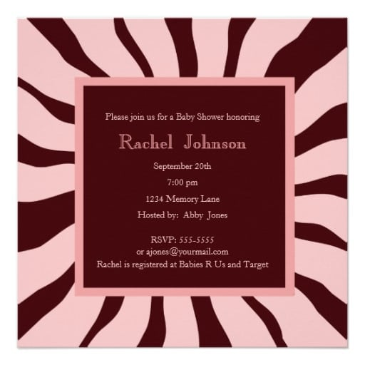 Pink And Brown Zebra Baby Shower Invitations