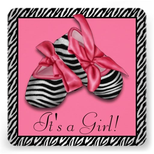 Pink And Zebra Baby Shower Invitations