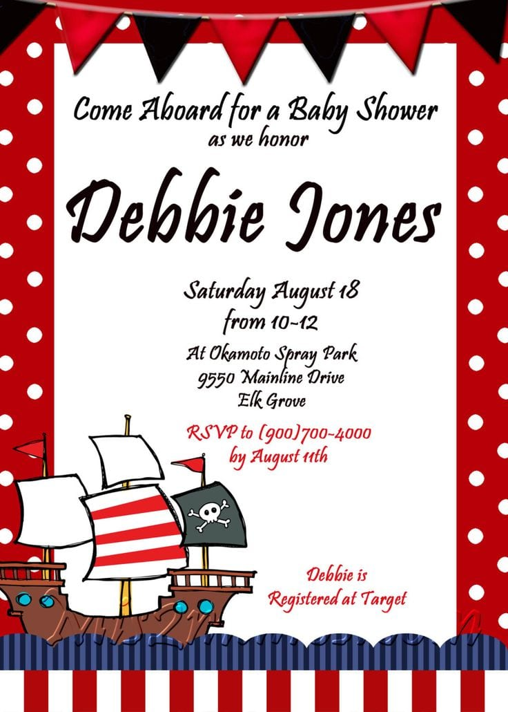 Pirate Baby Shower Invitation Wording