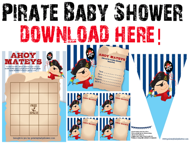 Pirate Theme Baby Shower Invitation