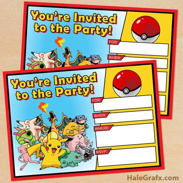Pokemon Party Invitations Free