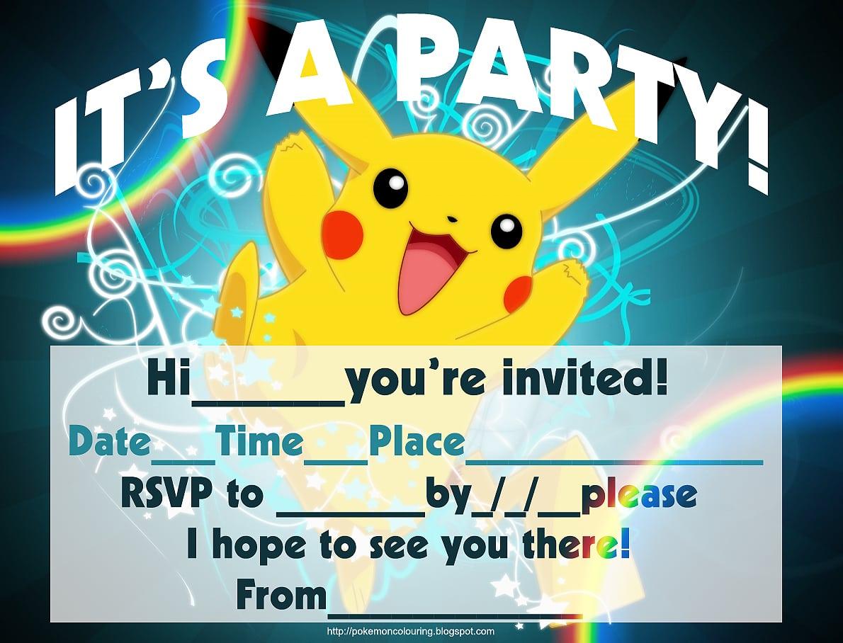 Pokemon Party Invitations Printable
