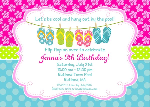 Free Pool Party Birthday Invitation