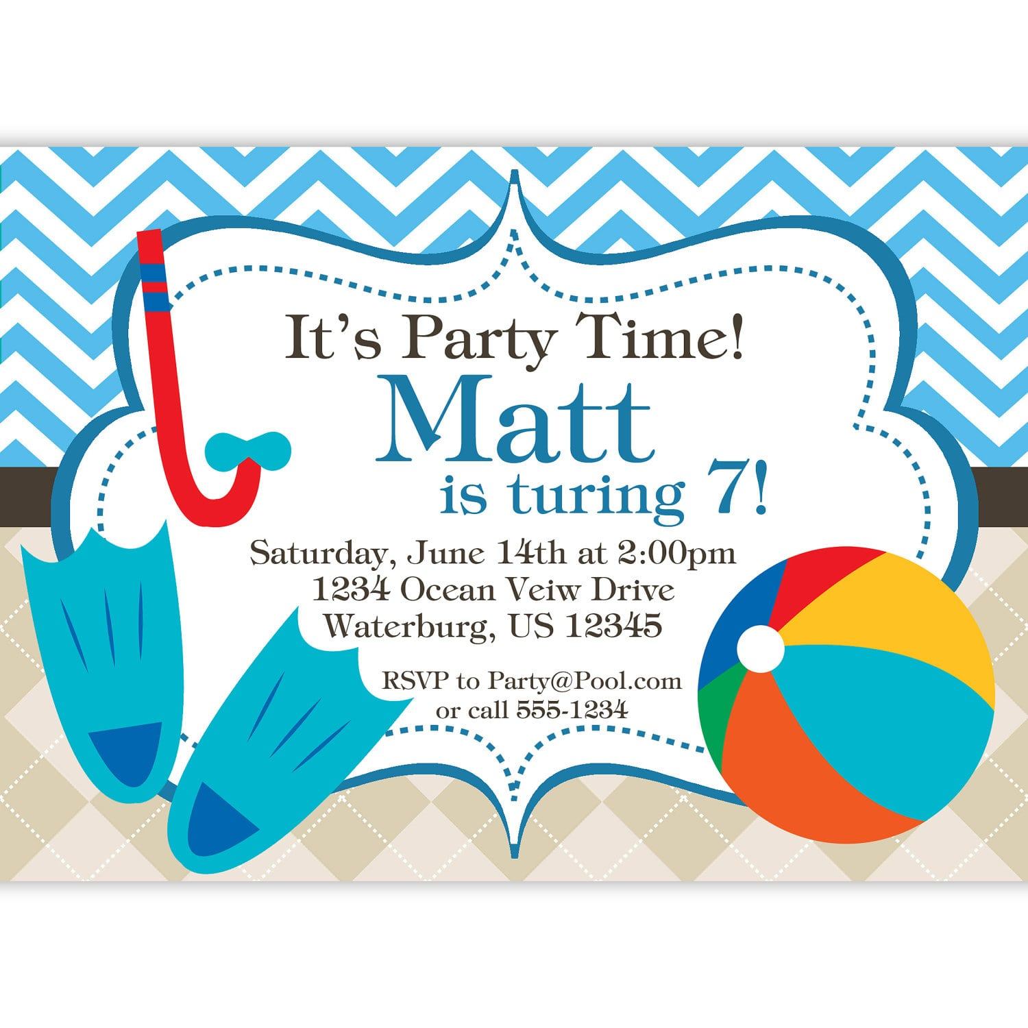 Pool Party Cards Invitation