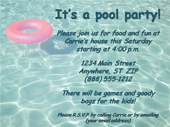 Pool Party Invitation Template Word
