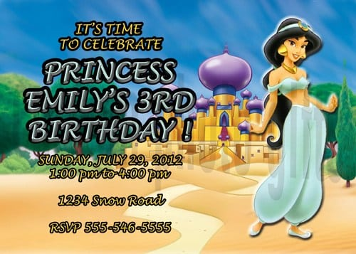 Princess Jasmine Personalized Birthday Invitation