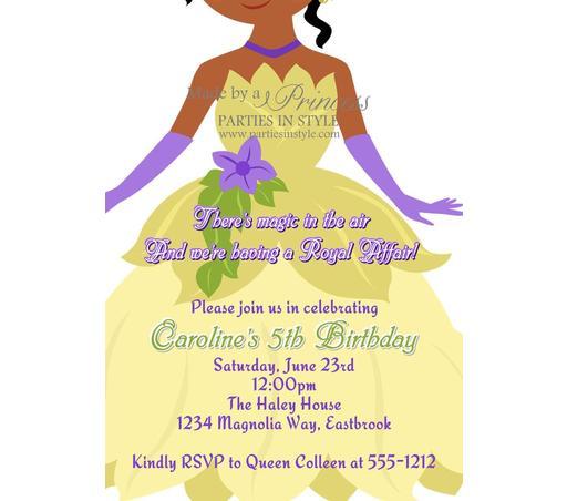 Princess Tiana Invitations Free