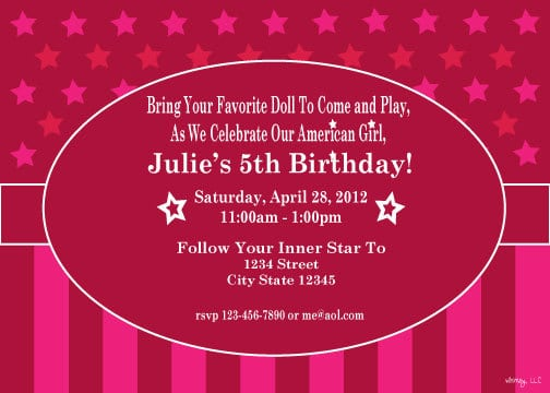 printable american girl birthday invitation