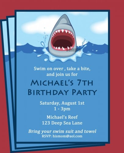 Printable Boys Pool Party Invitation