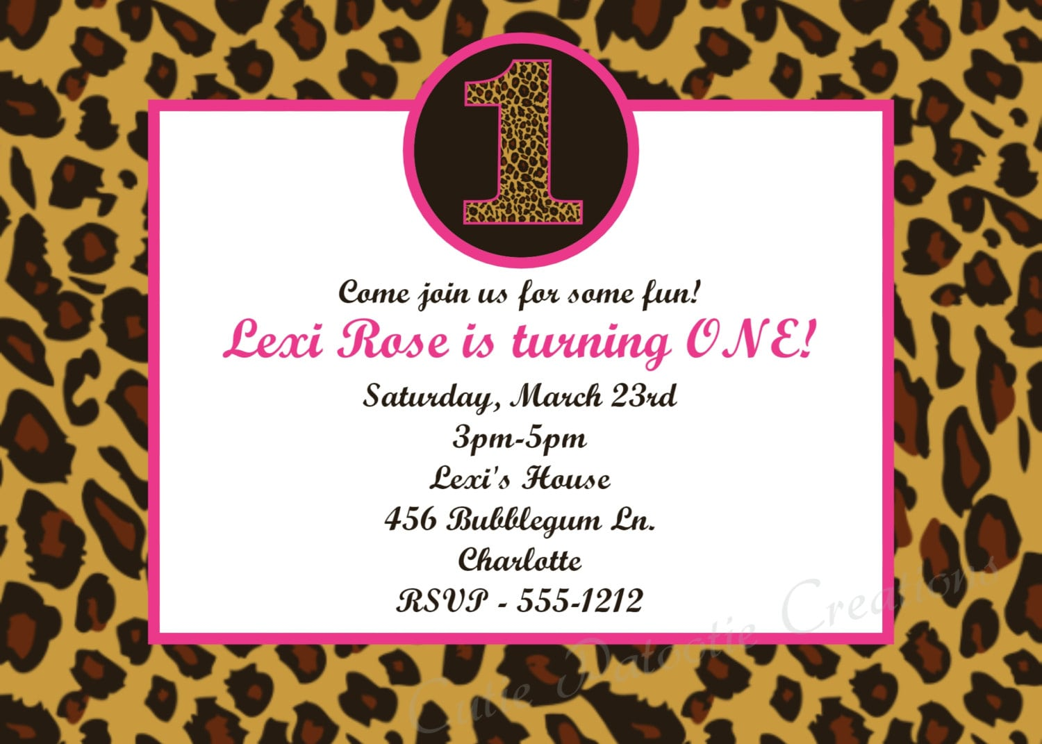Printable Cheetah Print Birthday Invitations