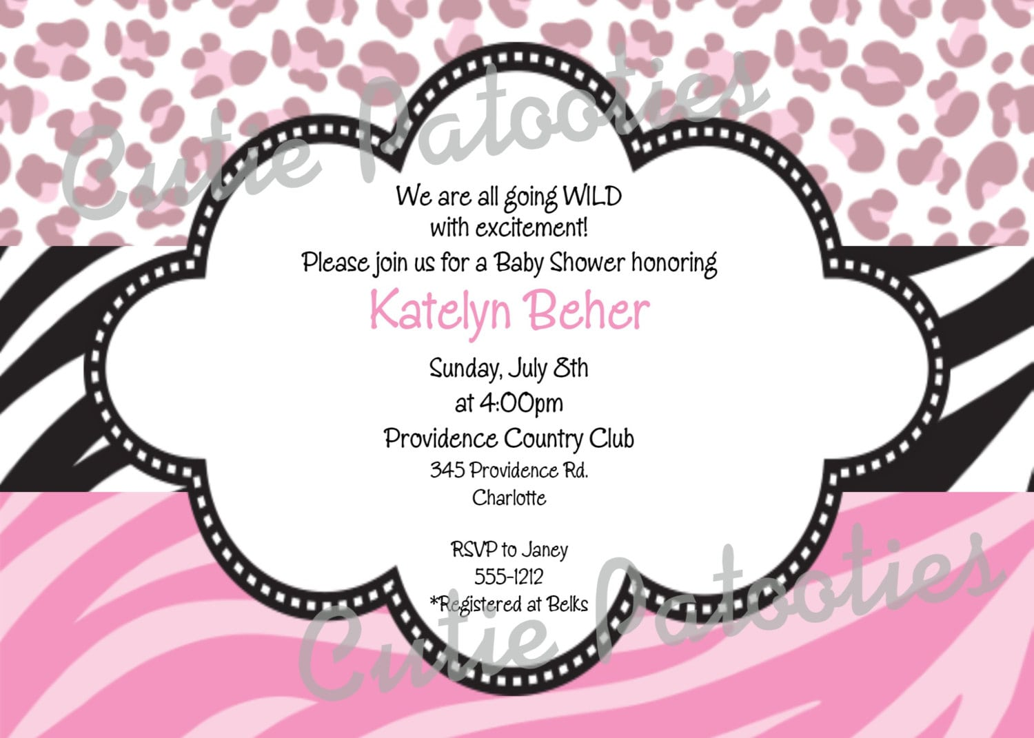 Printable Cheetah Print Invitation For Baby Showers