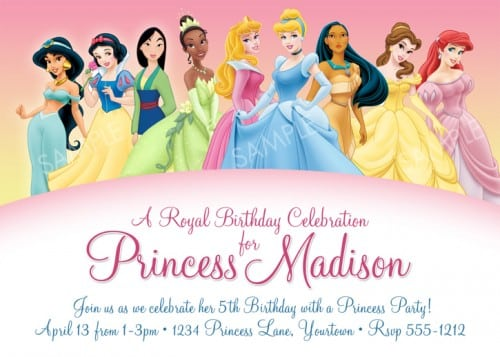 download printable princess invitations birthday parties