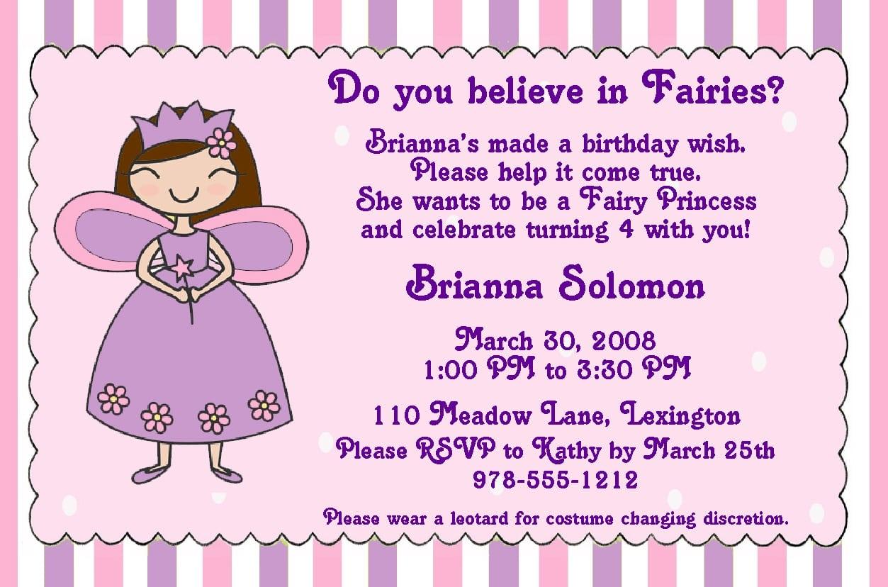 Printable Fairy Birthday Invitations