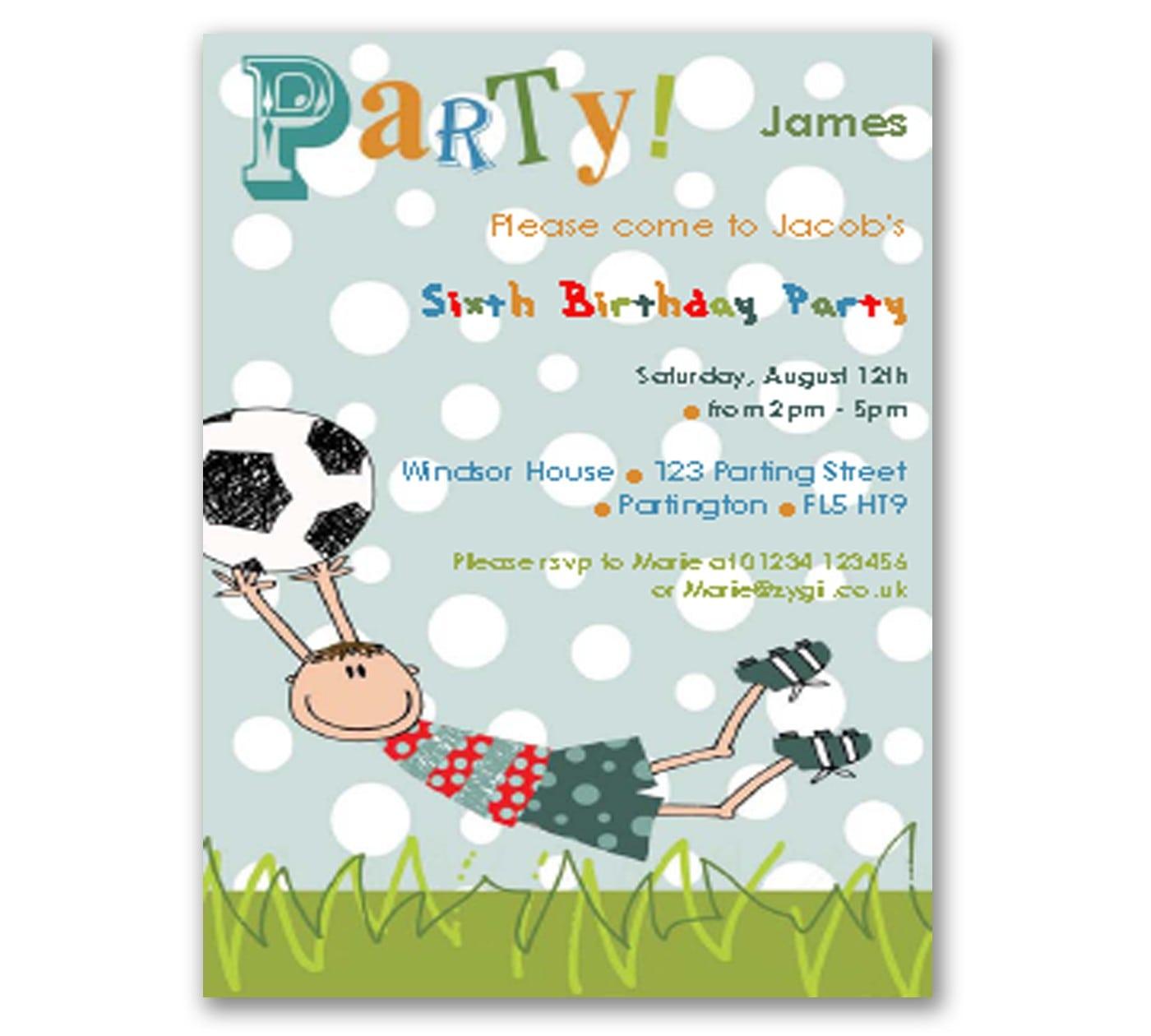 Printable Football Invitation Uk
