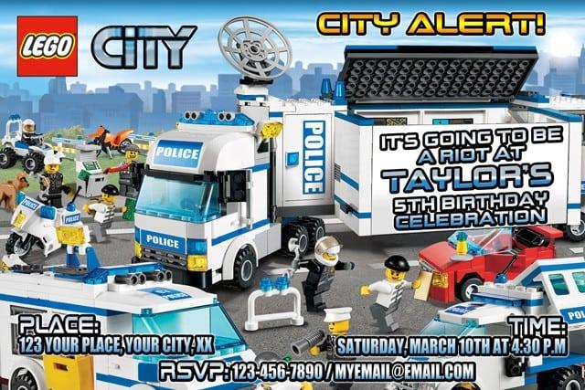 Printable Lego City Birthday Invitations